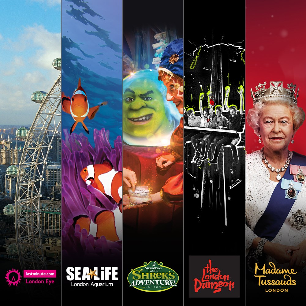 London Eye Madame Tussauds Sea Life London Dungeon Shrek's Adventure