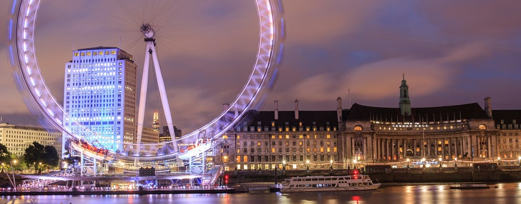 London Eye With Pink Light