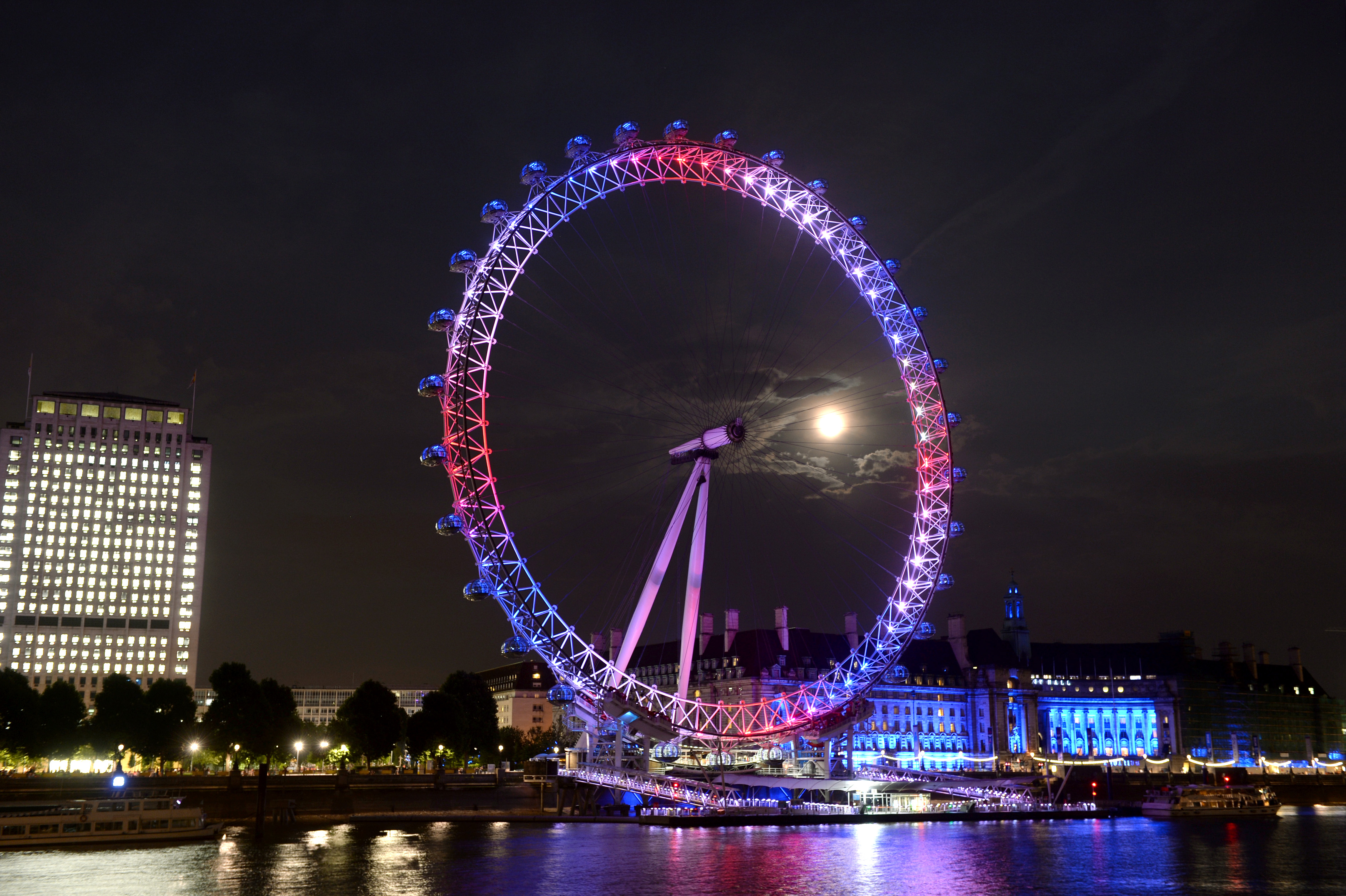 London Eye lit up red white and blue