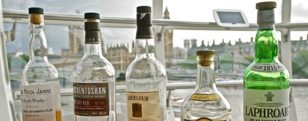 Different types of whisky in front of london eye