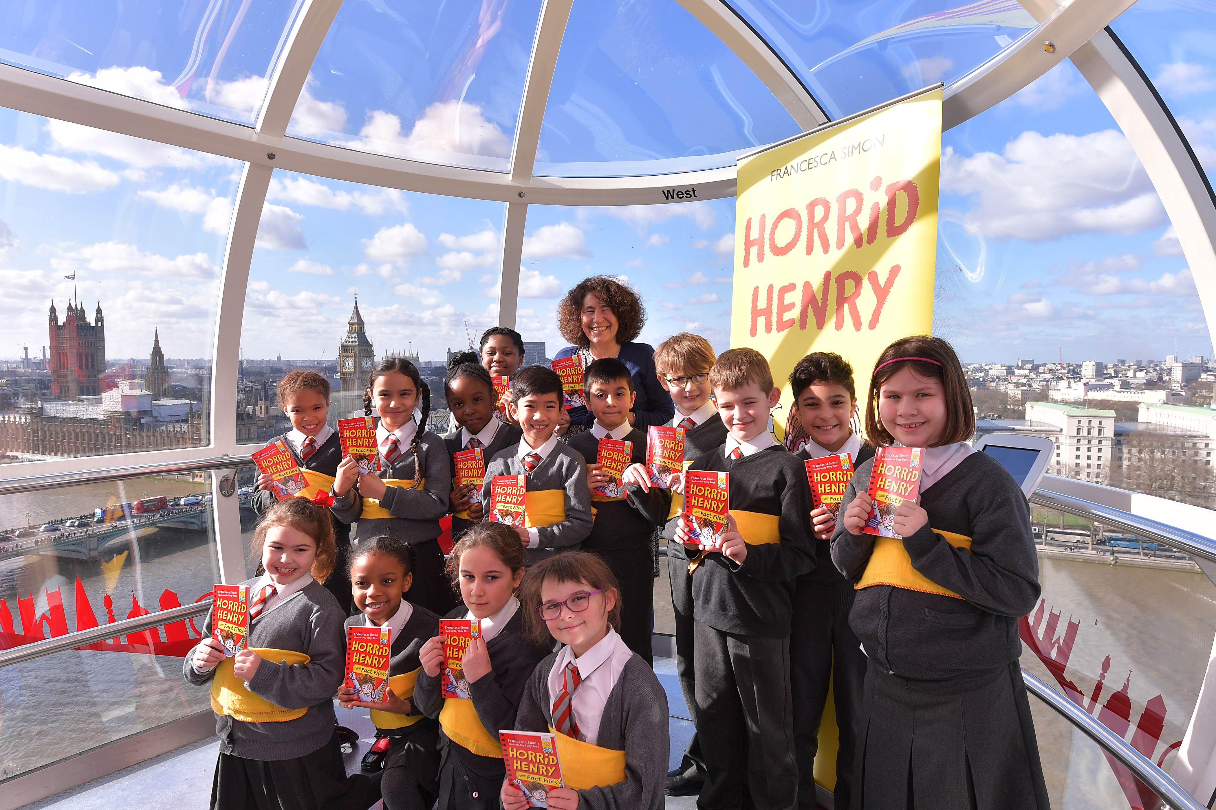 Children celebrating Horrid Henry on London Eye