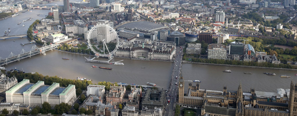 London Eye On River Thames From Above