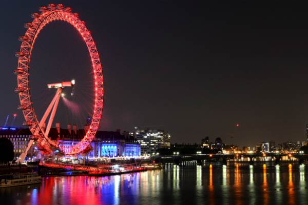 London Eye lit up red
