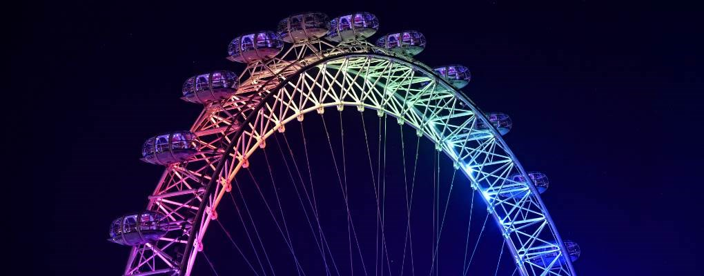 London Eye lit up rainbow